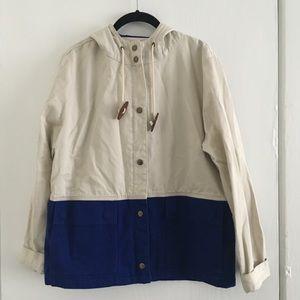 J. Crew Medium Cream Blue Colorblock Jacket